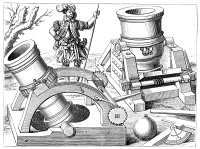 0064498 © Granger - Historical Picture ArchiveCANNONS, 1575.   Bombards mounted on mobile gun-carriages: wood engraving from Georg von Frundsberg's