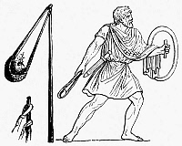 0087980 © Granger - Historical Picture ArchiveROMAN SLINGSHOT.   A slingshot and its use (right) by a Roman 'funditor.' Line engraving, 19th century.