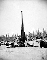 0100056 © Granger - Historical Picture ArchiveARTILLERY TESTING, 1947.   U.S. Army soldiers prepare a 120mm anti-aircraft gun for firing near Fairbanks, Alaska, to test performace in cold weather. Photographed 1947.