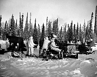 0100066 © Granger - Historical Picture ArchiveARTILLERY TESTING, 1947.   U.S. Army soldiers prepare a battery of 40mm anti-aircraft guns for firing during maneuvers in Fairbanks, Alaska, c1947.