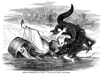 0031897 © Granger - Historical Picture ArchiveALLIGATOR ATTACK, c1865.   Terrible encounter of a Florida washerwoman with an alligator. Wood engraving from an American newspaper, c1865.