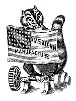 0268687 © Granger - Historical Picture ArchiveRACCOON, c1890.   A raccoon holding a flag promoting American Manufacture. Engraving, c1890.