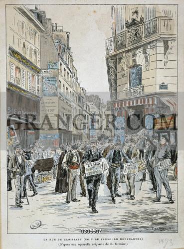 Image of FINE ART. - France, 19th Century. Newspaper Vendor In Rue ...