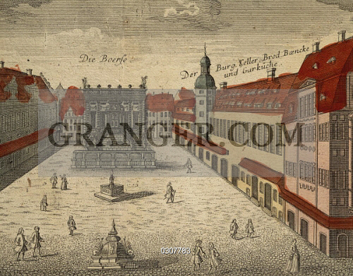 Image Of Fine Art Germany Leipzig View Of The Stock Exchange Square Color Print 18th Century Bach Archiv Archive Full Credit Dea A Dagli Orti Granger Nyc All Rights