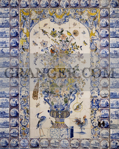 89dba9e23b Flowers and birds, detail of wall decorations, Delft tiles, Chateau