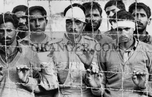 PAKISTANI PRISONERS, 1971.  Pakistanis captured by Bangladeshi pro-independence forces at a prison camp in Kashmir at the conclusion of the Bangladesh Liberation War, December 1971.