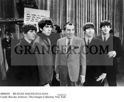 Image Of Beatles And Ed Sullivan The Beatles Photographed On The Set Of The Ed Sullivan Show On 9 February 1964 From Left George Harrison Ringo Starr Ed Sullivan John Lennon