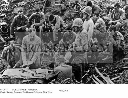 WORLD WAR II IWO JIMA American Soldiers Celebrating Mass After Having Taken Mount Suribachi