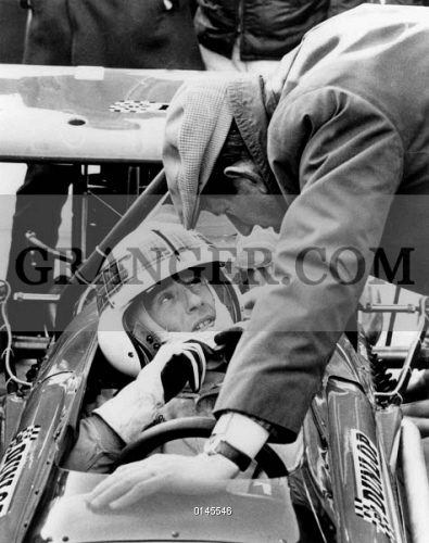 Jackie Racing Driver In A New Car Talking With Mr Ken Tyrrell