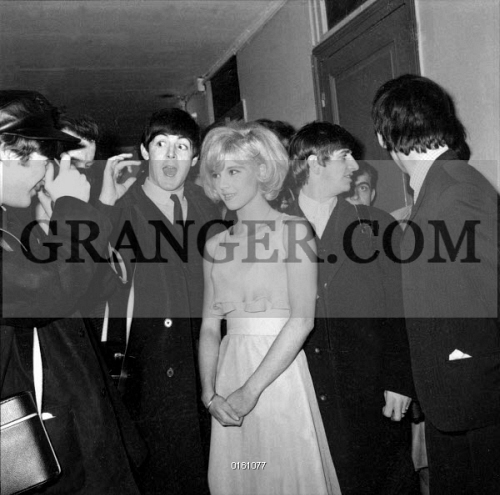 Image Of Sylvie And The Beatles Singer Sylvie Vartan As Guest In The Beatles Concert Here With Ringo Starr John Lennon Paul Mac Cartney George Harrison At Olympia In Paris On