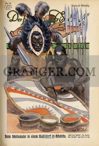 Image of SHIELD PAINTER, 1928  - An East African Massai Shield
