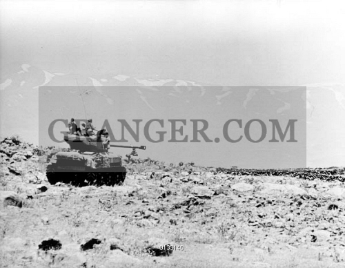 Six Day War An Israeli Tank Taking Position Near The Syrian Border Shortly After