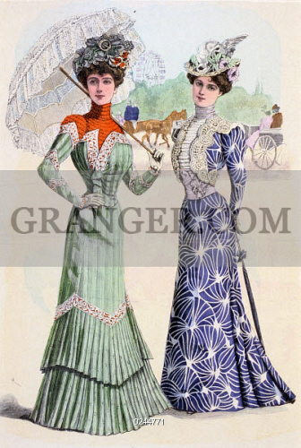 Image Of Fashion Ladies Fashion Spring Fashion Two Ladies In Casual Wear With Umbrellas May 1900 From Granger Historical Picture Archive
