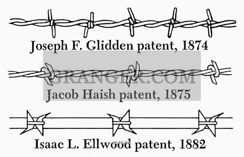 Image of BARBED WIRE 19th CENTURY Three Early Types Of – Joseph Gidden Barbed Wire Diagram