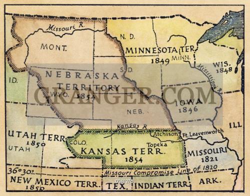 Image of KANSAS-NEBRASKA MAP, 1854. - Detail Of A Map Of The ...