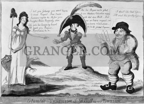 Image of WAR OF 1812  CARTOON. -  Columbia Teaching John Bull His ... 43d7bca4c52e