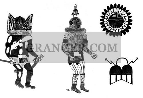 Line Art Of Sun : Image of hopi art: kachinas. owl and rattle kachinas sun