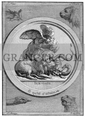 Image Of American Revolution Symbols Medallion With A Rooster