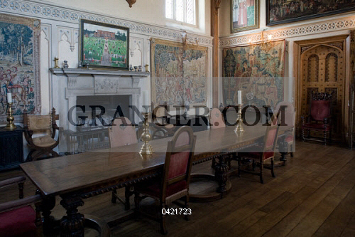 Dining Room With Wall Hangings, Interior Of Elizabethan Style Mansion (