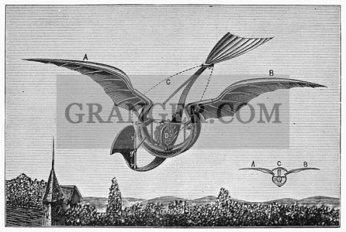 image of trouvÉ's ornithopter diagram of gustave trouvé's external combustion engine diagram of gustave trouvé's ornithopter, which was powered by an internal combustion