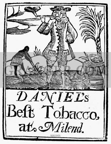 image of slavery plantation life an early 18th century english 18th Century Man of War an early 18th century english woodcut tobacco label depicting a peg