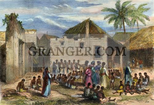 slave trade africa 1872 the slave market at zanzibar color wood engraving - Henn Color