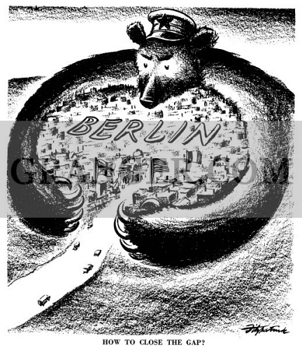 Image Of Cartoon Cold War Berlin 1948 How To Close The Gap American Cartoon On The Russian Attempt To Drive The Western Powers From Berlin By Every Possible Means Short Of An Outright