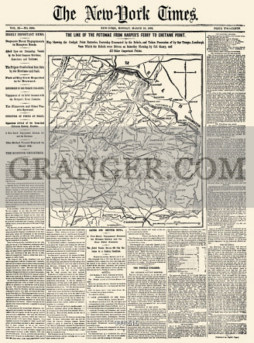 Image of CIVIL WAR MAP: VIRGINIA. - Front Page Of The 'New ... on georgia virginia map, colonial virginia map, fredericksburg va map, central virginia state map, county of va counties map, virginia meissner trail map, columbia gas of virginia map, slavery in 1860 virginia map, united states virginia map, battle of chancellorsville virginia map, american flag virginia map, manakin town virginia map, battle of richmond virginia map, california virginia map, 5 regions virginia map, petersburg virginia state map, hwy 58 virginia map, powell river virginia map, aquia creek virginia map, new york virginia map,