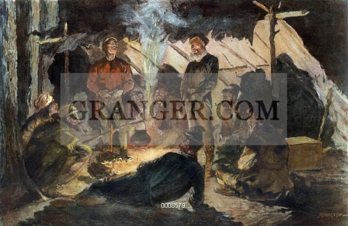 Image of FUR TRADE: VOYAGEURS  - 'Vouyageurs In Camp For The Night