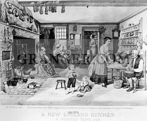 Image Of Colonial Kitchen. - A New England Kitchen From The
