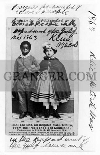 FREEDMEN SCHOOL 1863 Isaac And Rosa Emancipated Slave Children Souvenir Carte