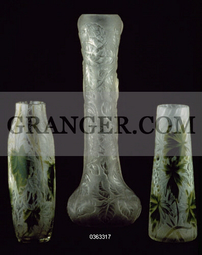 Image Of Decorative Arts Glass Vases Etched With Relief Tiffany