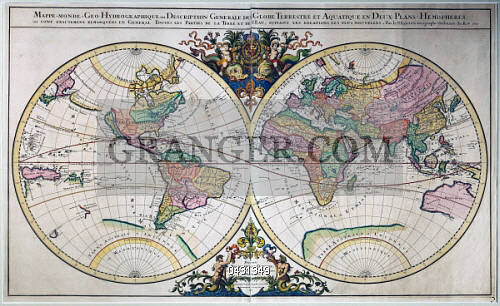 Image of fine art illustrated double hemisphere world map 1692 fine art illustrated double hemisphere world map 1692 engraving from the atlas gumiabroncs Gallery