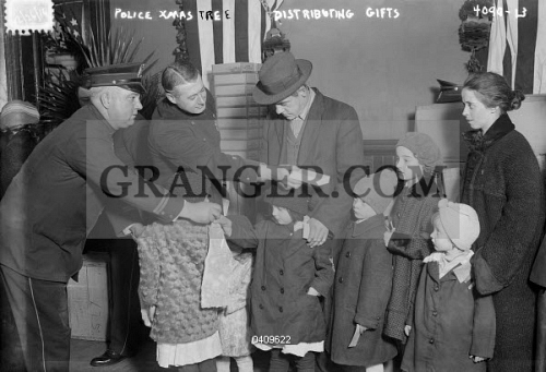 christmas c1950 police officers distributing christmas gifts to children united states photograph - Christmas Gifts For Police Officers