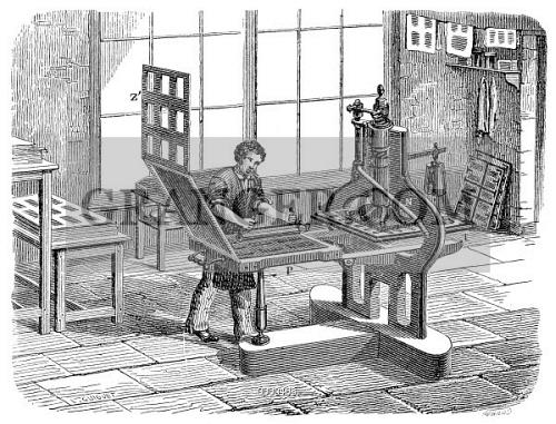 PRINTING PRESS 1805 Charles Stanhopes Stereotype Press Invented In Wood Engraving