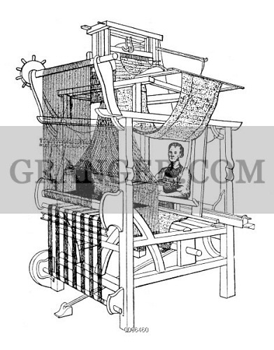 Image of JACQUARD LOOM  - Line Engraving, 19th Century  From