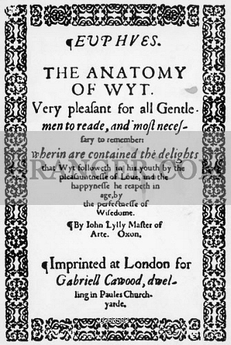 Image of LITERATURE. - Title Page Of Euphues Or The Anatomy Of Wit ...