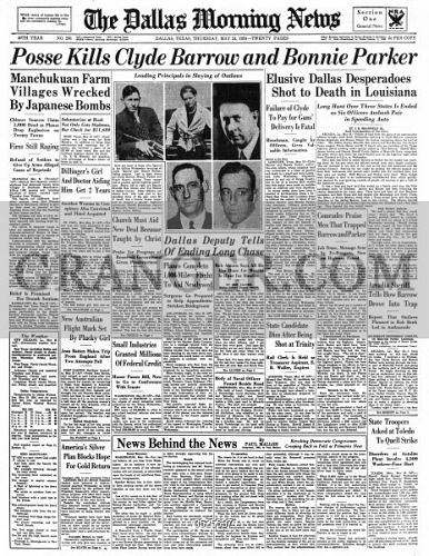 image of bonnie and clyde 1934 front page of the dallas morning