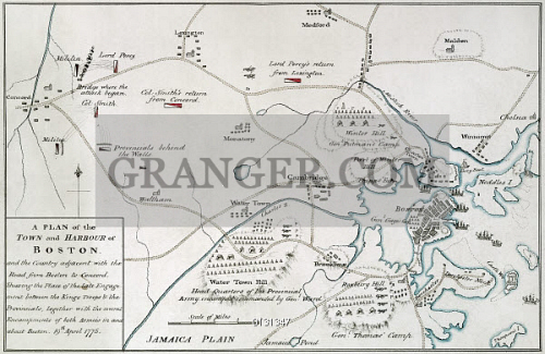Image of BOSTON-CONCORD MAP, 1775. - Engraved Map Of Boston ... on