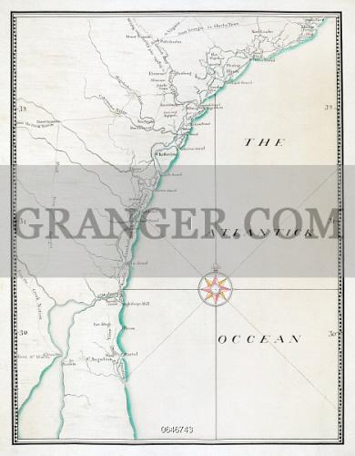 Map Of Georgia And Florida Coast.Image Of Map Atlantic Coast C1770 The Coastlines Of South