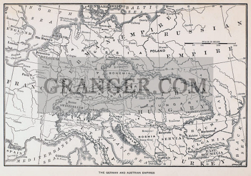 Image of MAP: GERMANY AND AUSTRIA. - The German And Austrian Empires ...