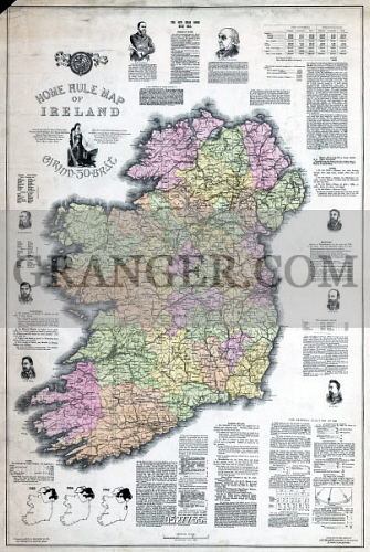 Map Of Ireland Historical Sites.Image Of Map Ireland 1893 Home Rule Map Of Ireland Illustrated