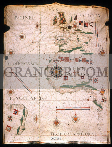 MAP OF THE ATLANTIC, 1534. 