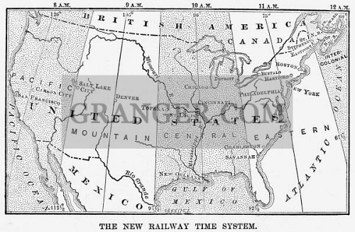 Image of UNITED STATES TIME ZONES. - An 1883 Map Of The ...