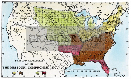 Image of MISSOURI COMPROMISE, 1820. - Map Of The United ...