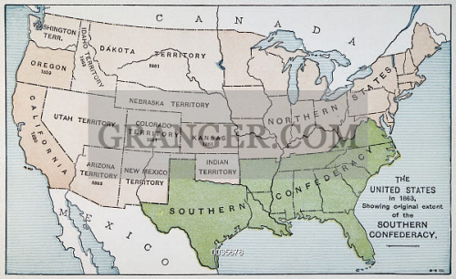 Image of UNITED STATES MAP, 1863. - Map Of The United States ...