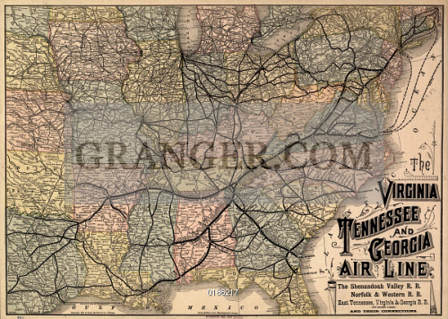 Image of MAP: RAILROAD, 1882. - \'The Virginia, Tennessee, And ...