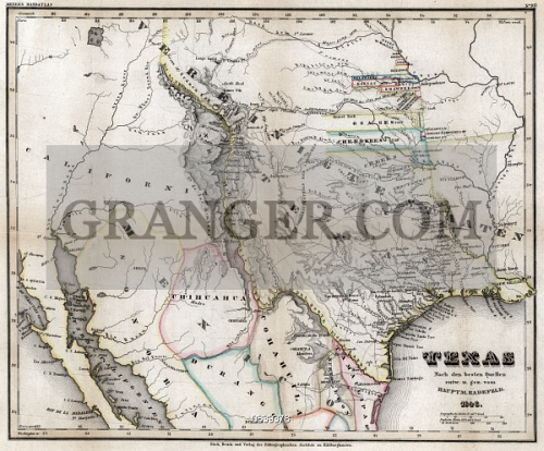 Map Of Texas Mexico.Image Of Map Texas 1846 Hand Colored Map Of Texas Showing