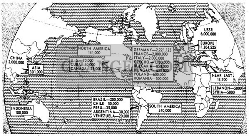 Image of map communism 1947 world map showing the population map communism 1947 world map showing the population distribution of communist party members gumiabroncs Image collections