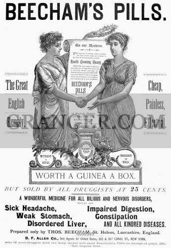Antique Victorian Advertising print 1891 Beecham/'s Pills For Depression